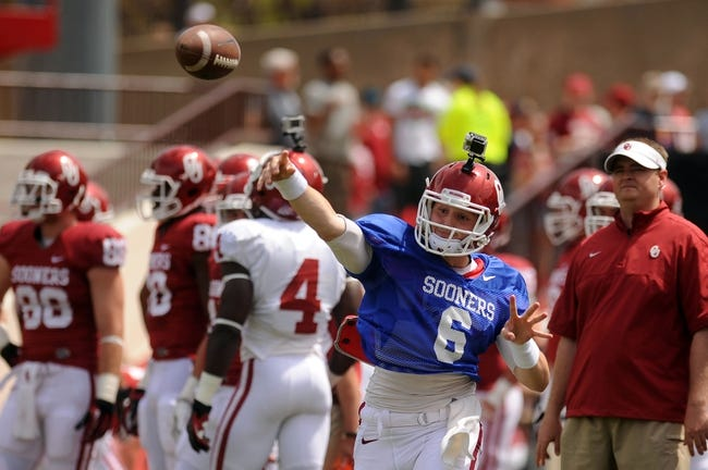 Apr 12, 2014; Norman, OK, USA; Oklahoma Sooners quarterback Baker Mayfield (6) passes the ball during the spring game at Gaylord Family Oklahoma Memorial Stadium. Mandatory Credit: Mark D. Smith-USA TODAY Sports