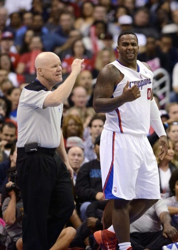 Apr 12, 2014; Los Angeles, CA, USA; Los Angeles Clippers guard Chris Paul (3) reacts after being given a foul against the Sacramento Kingsduring the third quarter at Staples Center. The Los Angeles Clippers won 117-101. Mandatory Credit: Kelvin Kuo-USA TODAY Sports