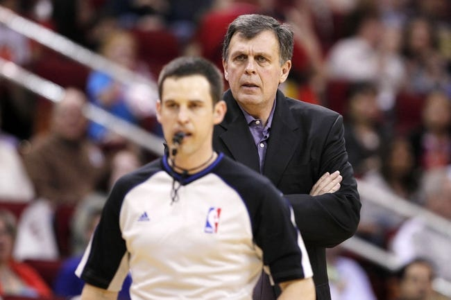 Apr 12, 2014; Houston, TX, USA; Houston Rockets head coach Kevin McHale reacts to a call during the first half against the New Orleans Pelicans at Toyota Center. Mandatory Credit: Soobum Im-USA TODAY Sports
