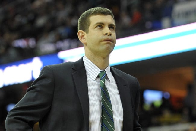 Apr 12, 2014; Cleveland, OH, USA; Boston Celtics head coach Brad Stevens reacts in the fourth quarter against the Cleveland Cavaliers at Quicken Loans Arena. Mandatory Credit: David Richard-USA TODAY Sports