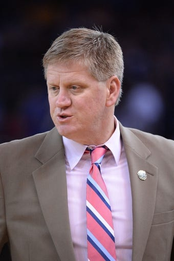Apr 6, 2014; Oakland, CA, USA; Utah Jazz assistant coach Brad Jones looks on against the Golden State Warriors during the third quarter at Oracle Arena. The Warriors defeated the Jazz 130-102. Mandatory Credit: Kyle Terada-USA TODAY Sports
