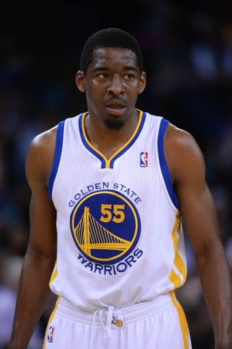 Apr 6, 2014; Oakland, CA, USA; Golden State Warriors guard Jordan Crawford (55) looks on against the Utah Jazz during the fourth quarter at Oracle Arena. The Warriors defeated the Jazz 130-102. Mandatory Credit: Kyle Terada-USA TODAY Sports