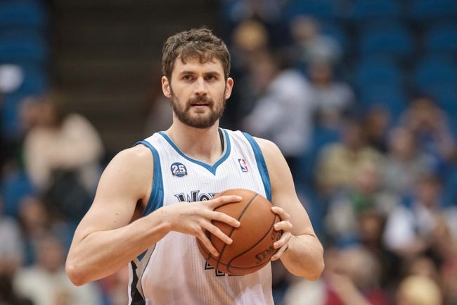 Apr 8, 2014; Minneapolis, MN, USA; Minnesota Timberwolves forward Kevin Love (42) grabs the ball pre game at Target Center. Mandatory Credit: Brad Rempel-USA TODAY Sports