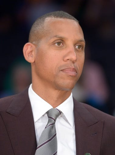 Apr 8, 2014; Los Angeles, CA, USA; TNT broadcaster Reggie Miller during the NBA game between the Houston Rockets and the Los Angeles Lakers at Staples Center. Mandatory Credit: Kirby Lee-USA TODAY Sports
