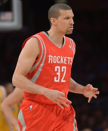 Apr 8, 2014; Los Angeles, CA, USA; Houston Rockets forward Francisco Garcia (32) reacts after a 3-point basket against the Los Angeles Lakers at Staples Center. Mandatory Credit: Kirby Lee-USA TODAY Sports