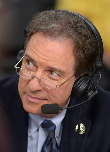 Apr 8, 2014; Los Angeles, CA, USA; TNT broadcaster Kevin Harlan during the NBA game between the Houston Rockets and the Los Angeles Lakers at Staples Center. Mandatory Credit: Kirby Lee-USA TODAY Sports