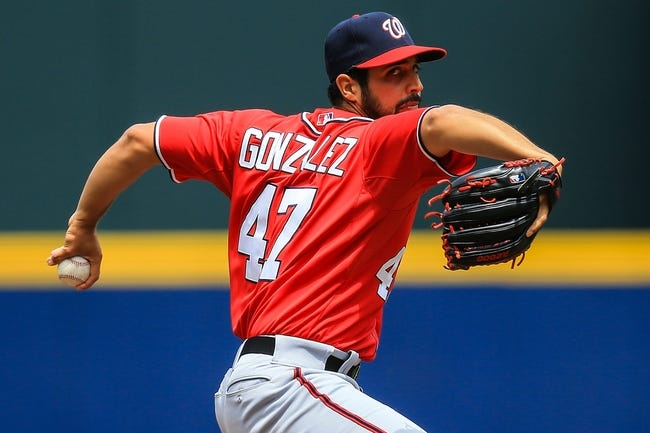 Apr 13, 2014; Atlanta, GA, USA; Washington Nationals starting pitcher Gio Gonzalez (47) pitches in the first inning against the Atlanta Braves at Turner Field. Mandatory Credit: Daniel Shirey-USA TODAY Sports