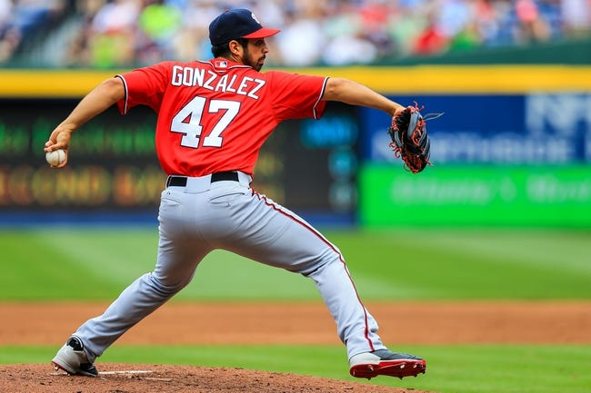 Apr 13, 2014; Atlanta, GA, USA; Washington Nationals starting pitcher Gio Gonzalez (47) pitches in the second inning against the Atlanta Braves at Turner Field. Mandatory Credit: Daniel Shirey-USA TODAY Sports