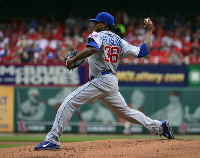 Apr 13, 2014; St. Louis, MO, USA; Chicago Cubs starting pitcher Edwin Jackson (36) delivers a pitch against the St. Louis Cardinals at Busch Stadium. Mandatory Credit: Scott Rovak-USA TODAY Sports