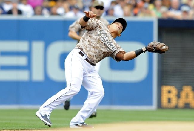 Apr 13, 2014; San Diego, CA, USA; San Diego Padres shortstop Everth Cabrera (2) catches the ball in shallow left field for an out during the first inning against the Detroit Tigers at Petco Park. Mandatory Credit: Christopher Hanewinckel-USA TODAY Sports