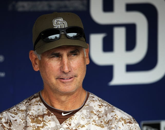 Apr 13, 2014; San Diego, CA, USA; San Diego Padres manager Bud Black (20) prior to the game against the Detroit Tigers at Petco Park. Mandatory Credit: Christopher Hanewinckel-USA TODAY Sports