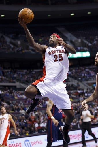 Apr 13, 2014; Auburn Hills, MI, USA; Toronto Raptors forward John Salmons (25) goes to the basket in the second quarter against the Detroit Pistons at The Palace of Auburn Hills. Mandatory Credit: Rick Osentoski-USA TODAY Sports