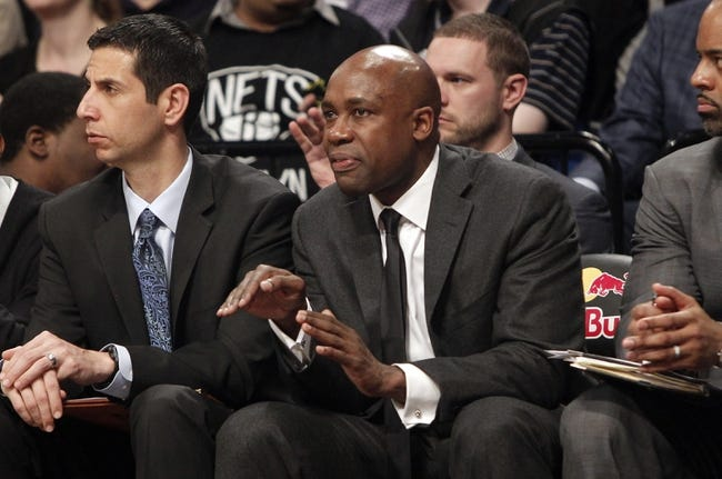 Apr 13, 2014; Brooklyn, NY, USA; Orlando Magic head coach Jacque Vaughn in the fourth quarter against Brooklyn Nets at Barclays Center. Nets win 97-88. Mandatory Credit: Nicole Sweet-USA TODAY Sports