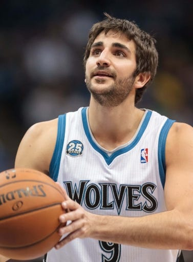 Apr 11, 2014; Minneapolis, MN, USA; Minnesota Timberwolves guard Ricky Rubio (9) shoots at Target Center. The Minnesota Timberwolves win 112-110. Mandatory Credit: Brad Rempel-USA TODAY Sports