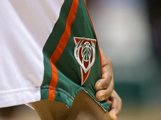 Apr 5, 2014; Milwaukee, WI, USA; The Milwaukee Bucks logo on a players shorts  during the game against the Toronto Raptors at BMO Harris Bradley Center.  Toronto won 102-98.  Mandatory Credit: Jeff Hanisch-USA TODAY Sports