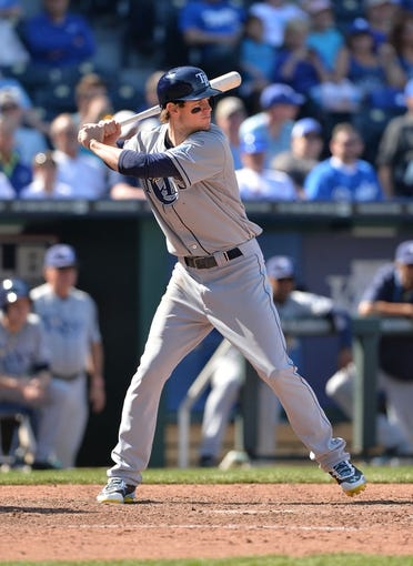 Apr 9, 2014; Kansas City, MO, USA; Tampa Rays left fielder Wil Myers (9) at bat against the Kansas City Royals during the ninth inning at Kauffman Stadium. Mandatory Credit: Peter G. Aiken-USA TODAY Sports