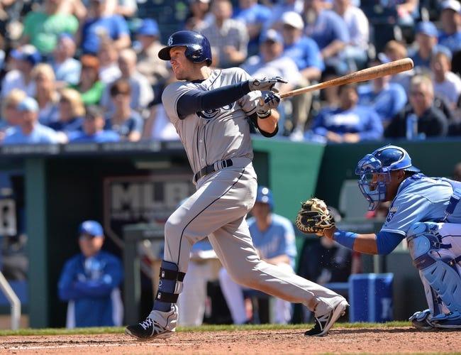 Apr 9, 2014; Kansas City, MO, USA; Tampa Rays third basemen Evan Longoria (3) at bat against the Kansas City Royals during the sixth inning at Kauffman Stadium. Mandatory Credit: Peter G. Aiken-USA TODAY Sports