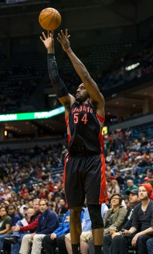Apr 5, 2014; Milwaukee, WI, USA; Toronto Raptors forward Patrick Patterson (54) during the game against the Milwaukee Bucks at BMO Harris Bradley Center.  Toronto won 102-98.  Mandatory Credit: Jeff Hanisch-USA TODAY Sports