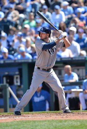 Apr 9, 2014; Kansas City, MO, USA; Tampa Rays designated hitter Matt Joyce (20) at bat against the Kansas City Royals during the fifth inning at Kauffman Stadium. Mandatory Credit: Peter G. Aiken-USA TODAY Sports