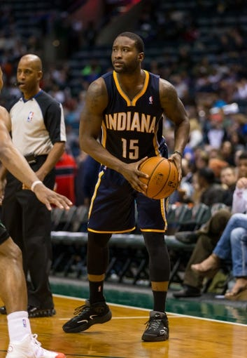 Apr 9, 2014; Milwaukee, WI, USA; Indiana Pacers guard Donald Sloan (15) during the game against the Milwaukee Bucks at BMO Harris Bradley Center.  Indiana won 104-102.  Mandatory Credit: Jeff Hanisch-USA TODAY Sports
