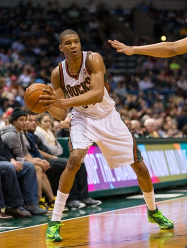 Apr 9, 2014; Milwaukee, WI, USA; Milwaukee Bucks guard Giannis Antetokounmpo (34) during the game against the Indiana Pacers at BMO Harris Bradley Center.  Indiana won 104-102.  Mandatory Credit: Jeff Hanisch-USA TODAY Sports