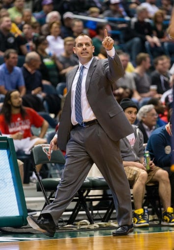 Apr 9, 2014; Milwaukee, WI, USA; Indiana Pacers head coach Frank Vogel during the game against the Milwaukee Bucks at BMO Harris Bradley Center.  Indiana won 104-102.  Mandatory Credit: Jeff Hanisch-USA TODAY Sports