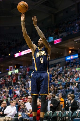 Apr 9, 2014; Milwaukee, WI, USA; Indiana Pacers guard Rasual Butler (8) during the game against the Milwaukee Bucks at BMO Harris Bradley Center.  Indiana won 104-102.  Mandatory Credit: Jeff Hanisch-USA TODAY Sports