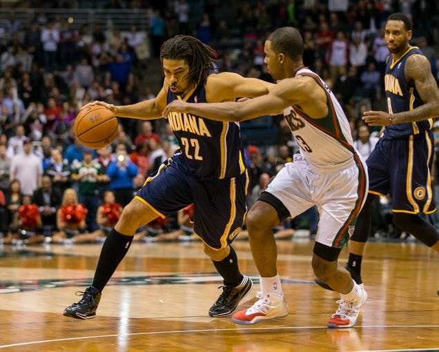 Apr 9, 2014; Milwaukee, WI, USA; Indiana Pacers forward Chris Copeland (22) during the game against the Milwaukee Bucks at BMO Harris Bradley Center.  Indiana won 104-102.  Mandatory Credit: Jeff Hanisch-USA TODAY Sports