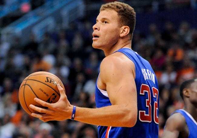 Apr 2, 2014; Phoenix, AZ, USA; Los Angeles Clippers forward Blake Griffin (32) reacts during the second quarter against the Phoenix Suns at US Airways Center. The Clippers won 112-108. Mandatory Credit: Casey Sapio-USA TODAY Sports