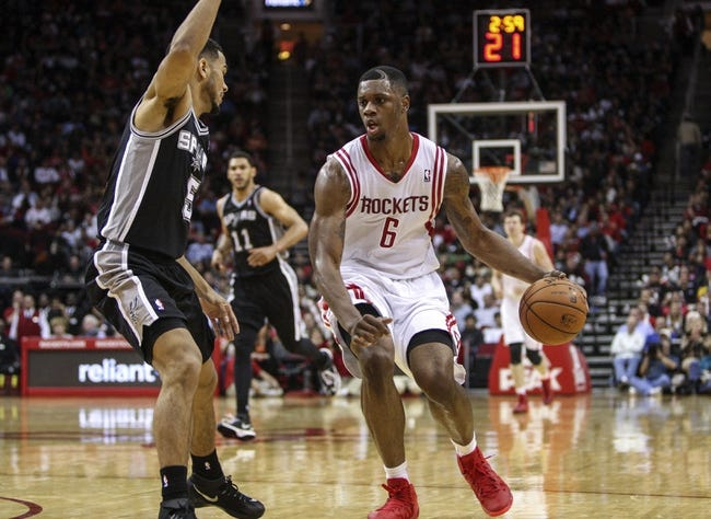Apr 14, 2014; Houston, TX, USA; Houston Rockets forward Terrence Jones (6) drives the ball during the third quarter against the San Antonio Spurs at Toyota Center. Mandatory Credit: Troy Taormina-USA TODAY Sports