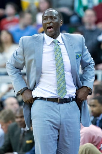 Apr 14, 2014; Salt Lake City, UT, USA; Utah Jazz head coach Tyrone Corbin reacts during the second half against the Los Angeles Lakers at EnergySolutions Arena. The Lakers won 119-104. Mandatory Credit: Russ Isabella-USA TODAY Sports