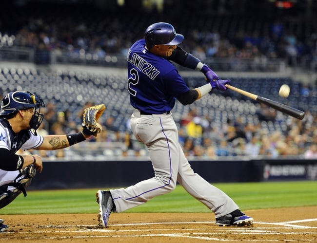 Apr 14, 2014; San Diego, CA, USA; Colorado Rockies shortstop Troy Tulowitzki (2) during an at bat against the San Diego Padres at Petco Park. Mandatory Credit: Christopher Hanewinckel-USA TODAY Sports