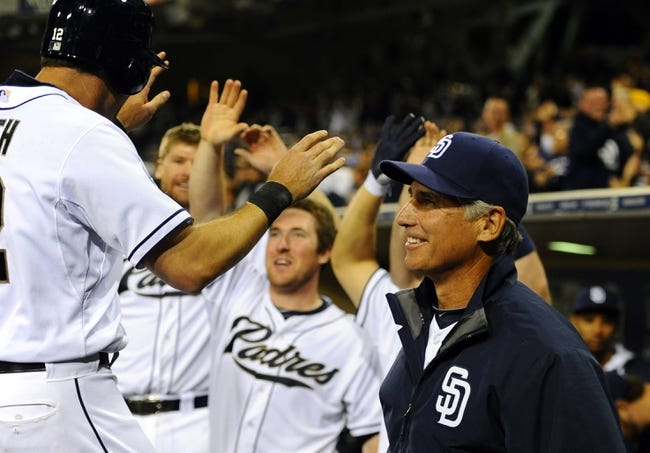 Apr 14, 2014; San Diego, CA, USA; San Diego Padres manager Bud Black (20) reacts during the eight inning against the Colorado Rockies at Petco Park. Mandatory Credit: Christopher Hanewinckel-USA TODAY Sports