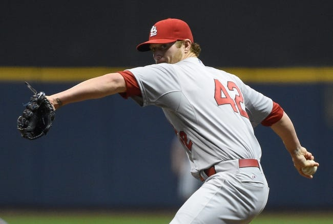 Apr 15, 2014; Milwaukee, WI, USA; St. Louis Cardinals pitcher Shelby Miller works in the first inning against the Milwaukee Brewers at Miller Park. Mandatory Credit: Benny Sieu-USA TODAY Sports