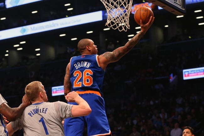 Apr 15, 2014; Brooklyn, NY, USA;  New York Knicks guard Shannon Brown (26) at the net during the first quarter against the Brooklyn Nets at Barclays Center. Mandatory Credit: Anthony Gruppuso-USA TODAY Sports