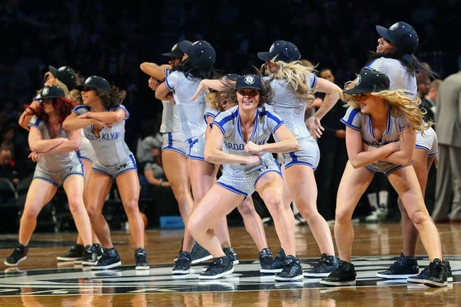 Apr 15, 2014; Brooklyn, NY, USA;  The Brooklynettes perform during the game against the New York Knicks at Barclays Center. Mandatory Credit: Anthony Gruppuso-USA TODAY Sports