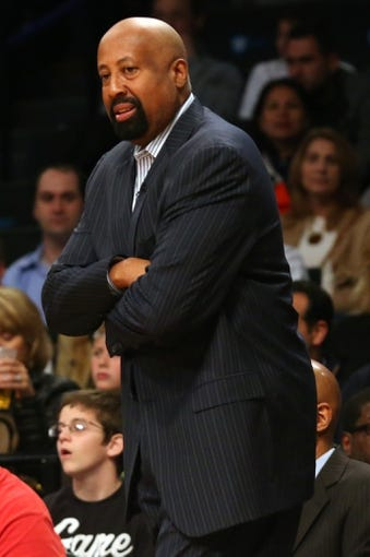 Apr 15, 2014; Brooklyn, NY, USA; New York Knicks head coach Mike Woodson looks on during the first quarter against the Brooklyn Nets at Barclays Center. Mandatory Credit: Anthony Gruppuso-USA TODAY Sports