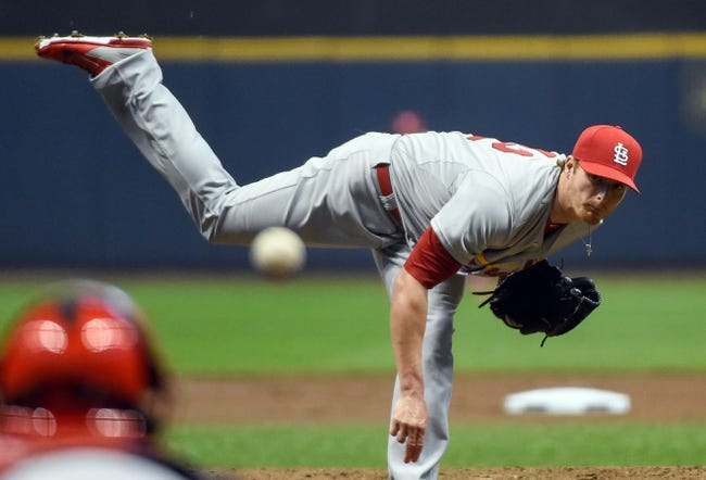 Apr 15, 2014; Milwaukee, WI, USA; St. Louis Cardinals pitcher Shelby Miller pitches in the first inning against the Milwaukee Brewers at Miller Park. Mandatory Credit: Benny Sieu-USA TODAY Sports