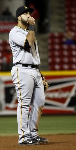 Apr 15, 2014; Cincinnati, OH, USA; Pittsburgh Pirates third baseman Pedro Alvarez warms his hand during a game against the Cincinnati Reds at Great American Ball Park. The Reds won 7-5. Mandatory Credit: David Kohl-USA TODAY Sports