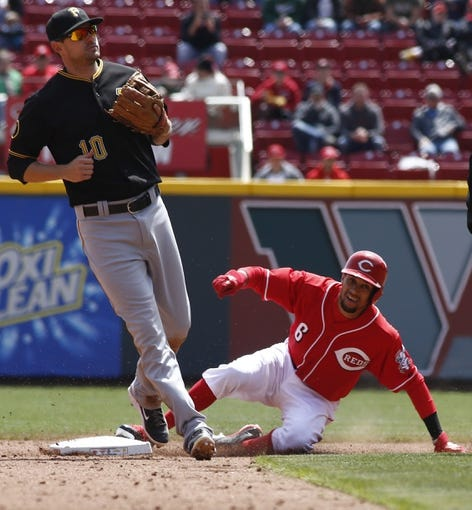 Apr 16, 2014; Cincinnati, OH, USA; Cincinnati Reds center fielder Billy Hamilton (6) steals second base under Pittsburgh Pirates shortstop Jordy Mercer (10) during the fifth inning at Great American Ball Park. The Reds won 4-0. Mandatory Credit: David Kohl-USA TODAY Sports