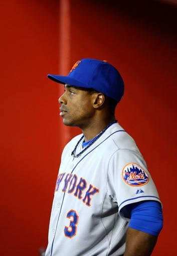 Apr 16, 2014; Phoenix, AZ, USA; New York Mets outfielder Curtis Granderson in the eighth inning against the Arizona Diamondbacks at Chase Field. The Mets defeated the Diamondbacks 5-2. Mandatory Credit: Mark J. Rebilas-USA TODAY Sports