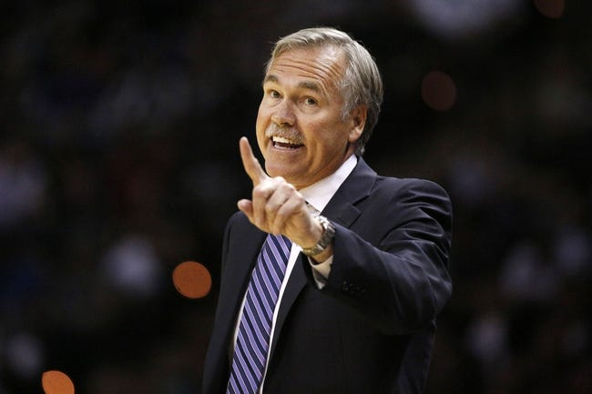 Apr 16, 2014; San Antonio, TX, USA; Los Angeles Lakers head coach Mike D'Antoni gives direction to his team during the first half against the San Antonio Spurs at AT&T Center. Mandatory Credit: Soobum Im-USA TODAY Sports