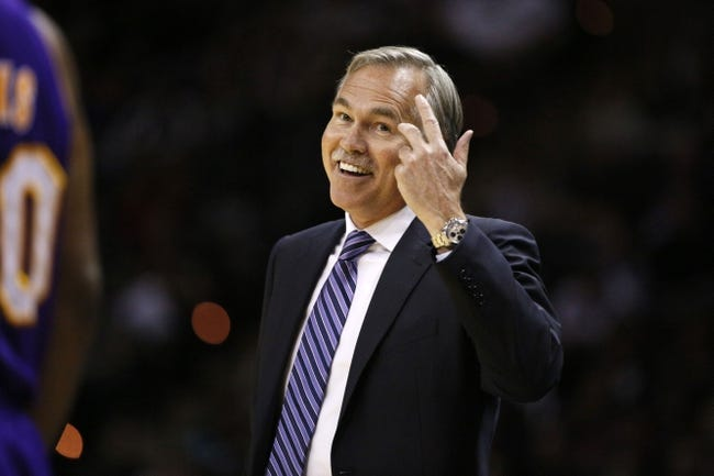 Apr 16, 2014; San Antonio, TX, USA; Los Angeles Lakers head coach Mike D'Antoni reacts during the first half against the San Antonio Spurs at AT&T Center. Mandatory Credit: Soobum Im-USA TODAY Sports