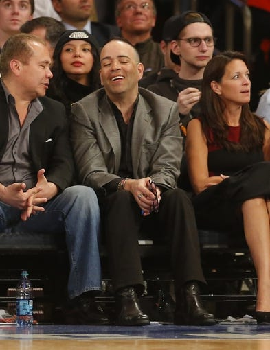 Apr 16, 2014; New York, NY, USA;  Luis Ramos from Lucky Sevens sits court side during game between the New York Knicks and the Toronto Raptors at Madison Square Garden. Mandatory Credit: Jim O'Connor-USA TODAY Sports