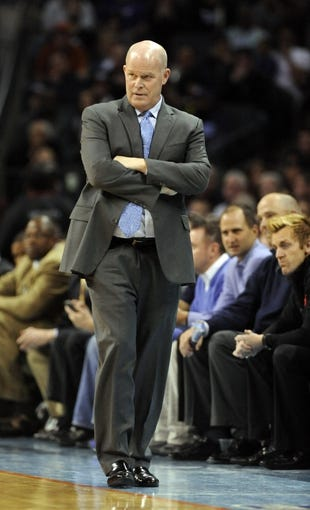 Apr 16, 2014; Charlotte, NC, USA; Charlotte Bobcats head coach Steve Clifford during the second half of the game against the Chicago Bulls at Time Warner Cable Arena.  Bobcats win in overtime 91-86. Mandatory Credit: Sam Sharpe-USA TODAY Sports