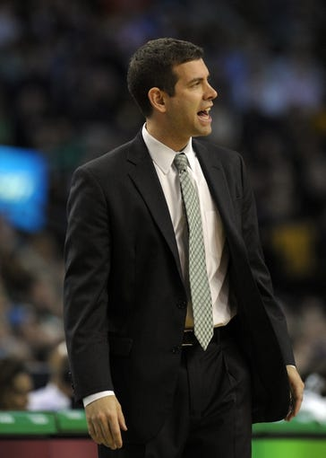 Apr 16, 2014; Boston, MA, USA; Boston Celtics head coach Brad Stevens during the second half against the Washington Wizards at TD Garden. Mandatory Credit: Bob DeChiara-USA TODAY Sports