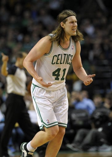 Apr 16, 2014; Boston, MA, USA; Boston Celtics center Kelly Olynyk (41) reacts to a call by the official during the second half against the Washington Wizards at TD Garden. Mandatory Credit: Bob DeChiara-USA TODAY Sports