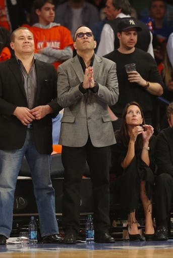Apr 16, 2014; New York, NY, USA;  Luis Ramos court side during game between the New York Knicks and the Toronto Raptors at Madison Square Garden. New York Knicks defeat the Toronto Raptors 95-92. Mandatory Credit: Jim O'Connor-USA TODAY Sports