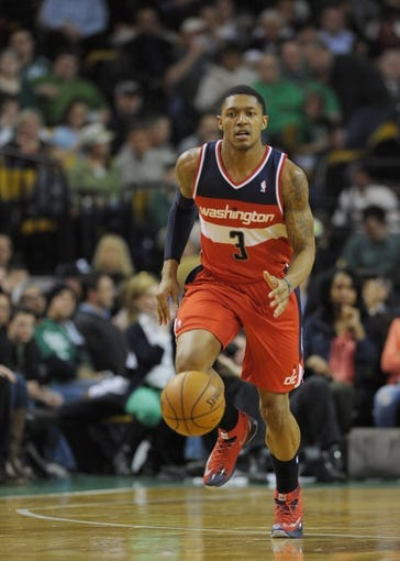 Apr 16, 2014; Boston, MA, USA; Washington Wizards guard Bradley Beal (3) dribbles the ball during the first half against the Boston Celtics at TD Garden. Mandatory Credit: Bob DeChiara-USA TODAY Sports
