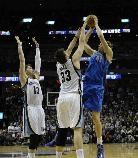 Apr 16, 2014; Memphis, TN, USA; Dallas Mavericks forward Dirk Nowitzki (41) shoots over Memphis Grizzlies center Marc Gasol (33) during the game at FedExForum. Memphis Grizzlies beat the Dallas Mavericks in overtime 106 - 105. Mandatory Credit: Justin Ford-USA TODAY Sports